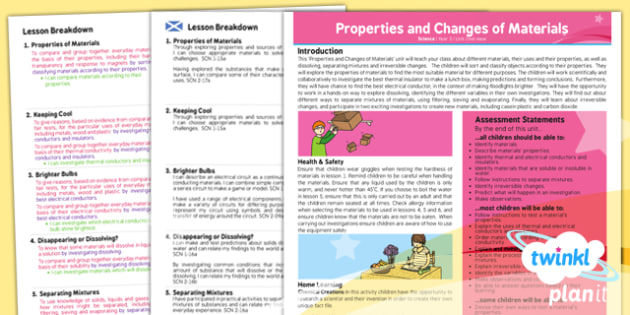 PlanIt - Science Year 5 - Properties and Changes of Materials Planning Overview CfE - planit, planning, overview, cfe