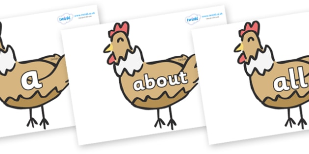 100 High Frequency Words on French Hens - High frequency words, hfw, DfES Letters and Sounds, Letters and Sounds, display words