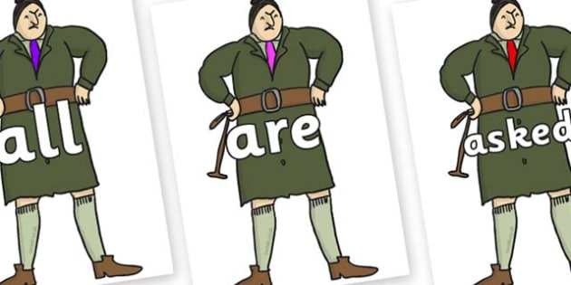 Tricky Words on Mrs Trunchbull to Support Teaching on Matilda - Tricky words, DfES Letters and Sounds, Letters and sounds, display, words