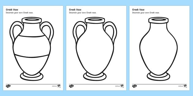 Greek Vase Design Sheet - decorate a greek vase, greek vase template, design a greek vase, ancient greece, ancient greece colouring worksheet, greek history