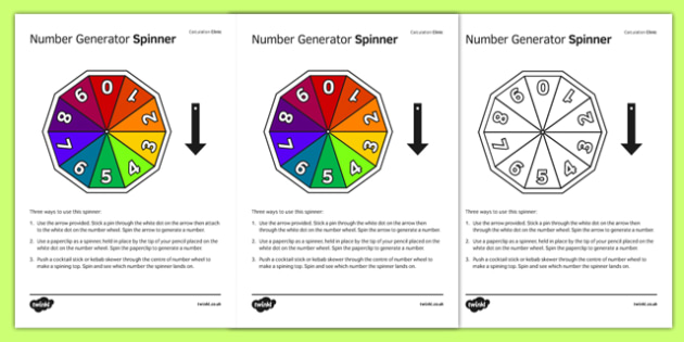 Number Generator Spinner - KS3, KS4, GCSE, Maths, calculation, addition, subtraction, multiplication, division, low ability, practise, assessment