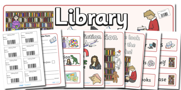 Library Role Play Primary Resources, library, books, book, fiction, non-fiction, reading, card, Early Years (EYFS), KS1 & KS2 Primary Teaching Resources