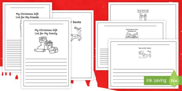 Christmas Shopping List Writing Frames