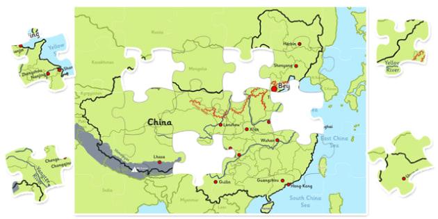 Map of China Jigsaw - map, china, jigsaw, activity, class, puzzle