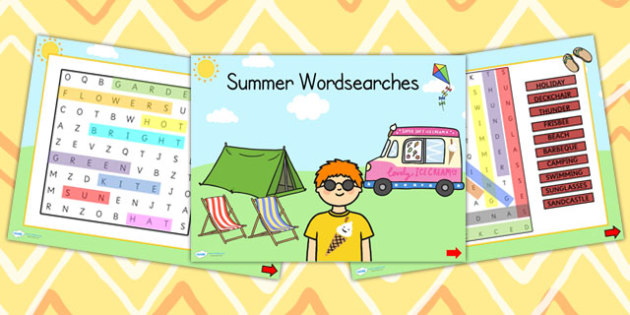 Summer Themed Differentiated Wordsearch PowerPoint - seasons