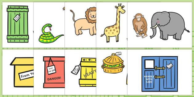 Story Cut Outs to Support Teaching on Dear Zoo - Dear Zoo, Rod Campbell story, zoo, zoo animals, adjectives, descriptive words, lion, monkey, puppy, giraffe, story book, story book resources, story sequencing, story resources, zoo, animals, cut out