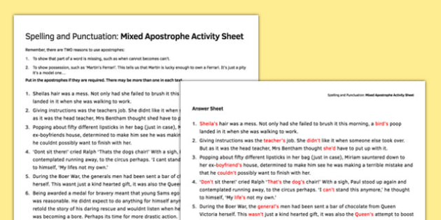 Spelling and Punctuation Mixed Apostrophe Activity Sheet - spelling, punctuation, apostrophe, worksheet
