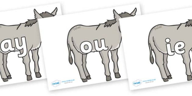 Phase 5 Phonemes on Donkeys - Phonemes, phoneme, Phase 5, Phase five, Foundation, Literacy, Letters and Sounds, DfES, display