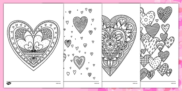 Heart Mindfulness Colouring Sheets - heart, mindfulness, colouring, colour, valentines day, valentine