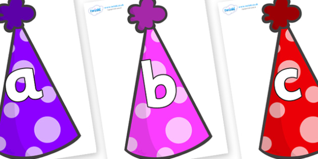 Phoneme Set on Party Hats - Phoneme set, phonemes, phoneme, Letters and Sounds, DfES, display, Phase 1, Phase 2, Phase 3, Phase 5, Foundation, Literacy