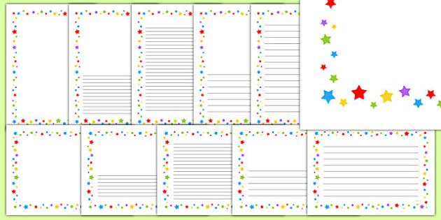 Multicoloured Stars Page Borders - writing templates, border