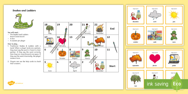 Months of the Year Snakes and Ladders French - French Games, CfE, Second Level, 1 + 2 languages,snakes and ladders, months of the year.