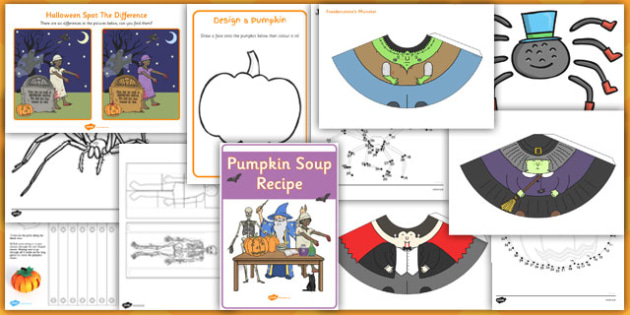 Halloween Activity and Paper Model Resource Pack - halloween, activity, pack