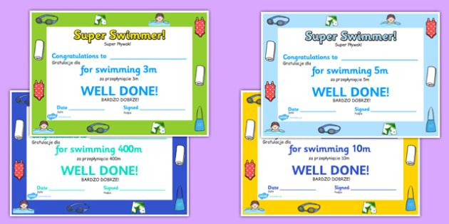 Swimming Certificates Polish Translation - polish, swimming, certificates, swimming, certificates, award