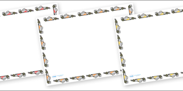 Racing Car Full Page Borders (Landscape) - page border, border, frame, writing frame, racing car, cars, racing car writing frames, writing template, writing aid, writing, A4 page, page edge, writing activities, lined page, lined pages