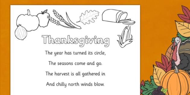 Thanksgiving Poem Colouring Sheet -  thanksgiving tree display banner, thanksgiving, pumpkin, poem, poems, colouring, fine motor skills, poster, worksheet, vines, A4, display, United States, November, turkey, stuffing, family, celebration