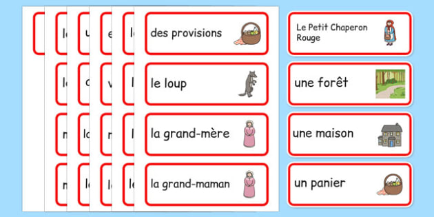 Little Red Riding Hood Word Cards French -  EAL, translated, traditional tales, fairy tales