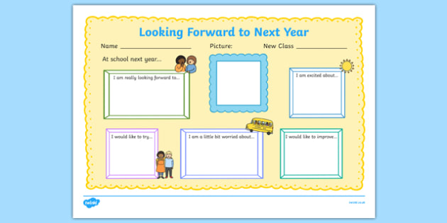 Looking Forward to Next Year Write-Up Activity Sheet, worksheet