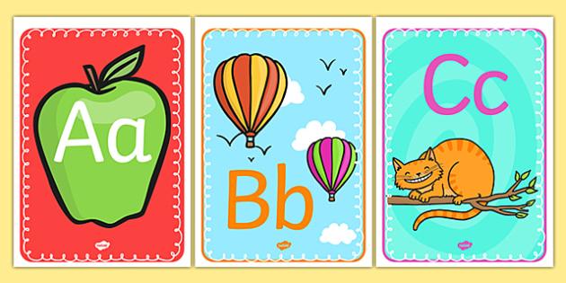 Alphabet Display A4 Posters - a-z, alphabet, display, poster