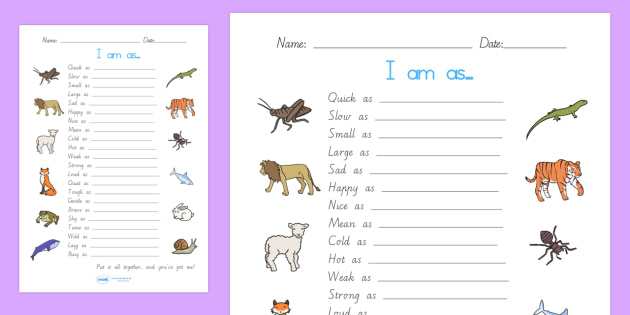 Simile Worksheet - simile, literacy, writing, punctuation, write, smillie