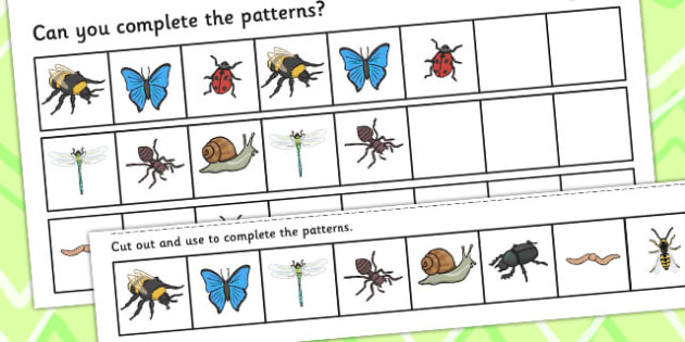 Minibeast Complete the Pattern Worksheets Differentiated