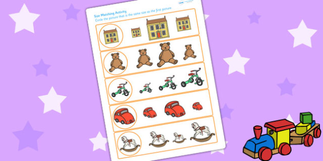 Toy Size Matching Worksheets - toys, size, shape, match, order