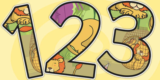 The Lion And The Mouse Themed A4 Display Numbers - numbers, a4