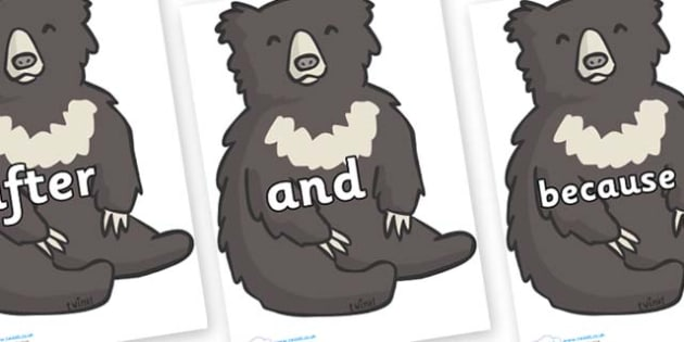 Connectives on Bears - Connectives, VCOP, connective resources, connectives display words, connective displays