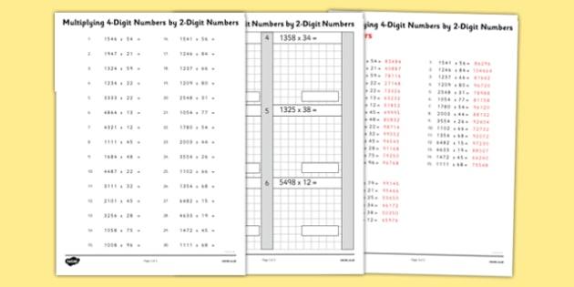 Multiplying 4 Digit Numbers by 2 Digit Numbers Activity Sheet Pack - multiplying, numbers, activity, sheet, maths, numeracy, 4 digit, worksheet