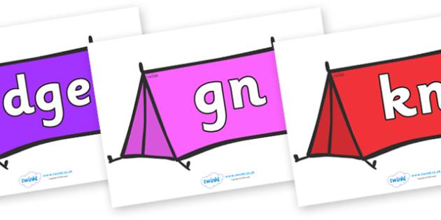 Silent Letters on Tents - Silent Letters, silent letter, letter blend, consonant, consonants, digraph, trigraph, A-Z letters, literacy, alphabet, letters, alternative sounds