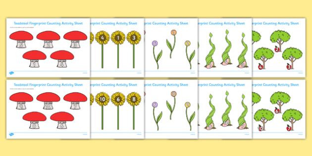 Plants and Growth Fingerprint Counting Activity Sheets Pack - EYFS activities, number, EAD, worksheet