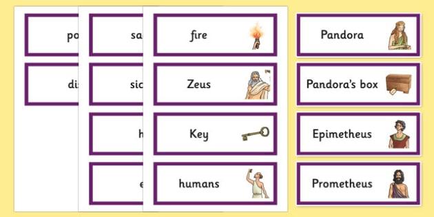 Pandoras Box Ancient Greek Myth Word Cards - greek mythology