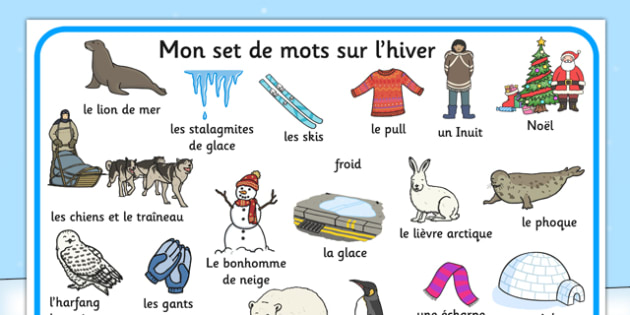 Mon set de mots sur l'hiver French - french, winter, word mat, word, mat, season
