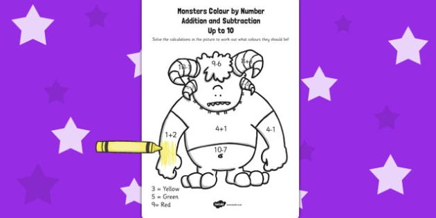 Monsters Colour by Number Addition and Subtraction Up to 10