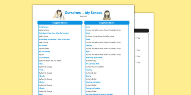 All About Me and Ourselves: My Senses Book List