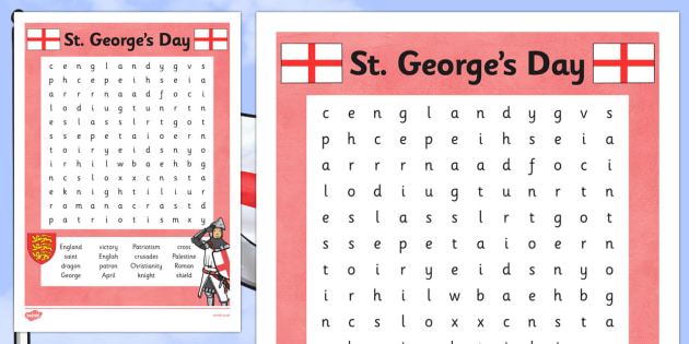 St George's Day Word Search - St George's Day, dragon, knight, England