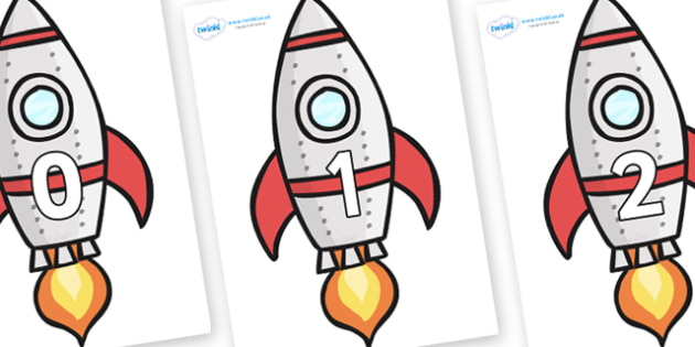 Numbers 0-50 on Rockets (Plain) - 0-50, foundation stage numeracy, Number recognition, Number flashcards, counting, number frieze, Display numbers, number posters