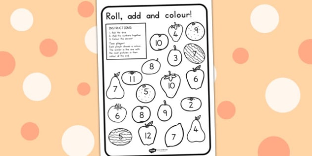 Fruit Roll and Colour Dice Addition Activity - healthy eating
