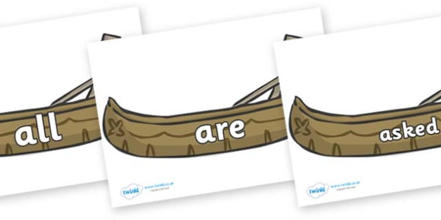 Tricky Words on Canoes - Tricky words, DfES Letters and Sounds, Letters and sounds, display, words