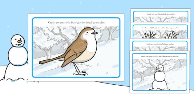Thema Winter: Lese und Knete Knetunterlage