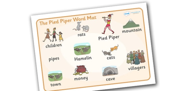 The Pied Piper Word Mat - Pied Piper, story, children, rats, Hamelin, pipes, cats, word mat, writing aid, mat, cave, villagers, mountain, town, money, story book