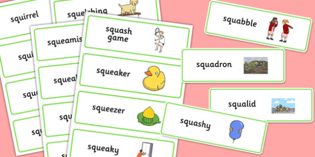Two Syllable SQU Word Cards - speech sounds, phonology, articulation, speech therapy, cluster reduction, complex clusters, three element clusters