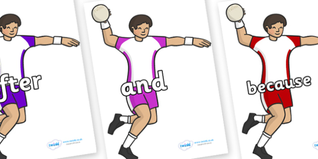 Connectives on Handball Players - Connectives, VCOP, connective resources, connectives display words, connective displays