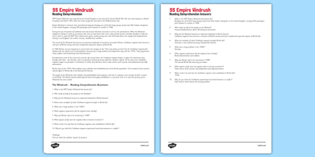 The Windrush Reading Comprehension Activity - Windrush, Lesson