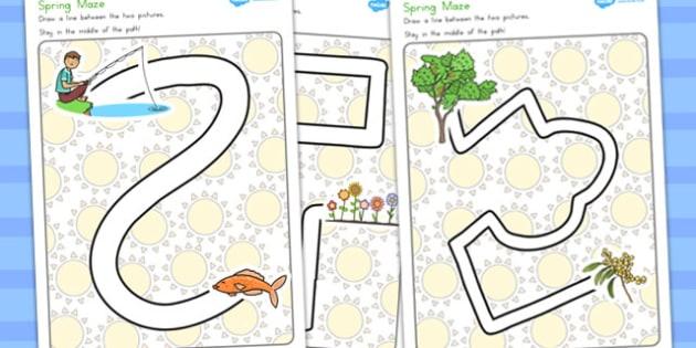 Spring Pencil Control Path Worksheets - fine motor skills, spring