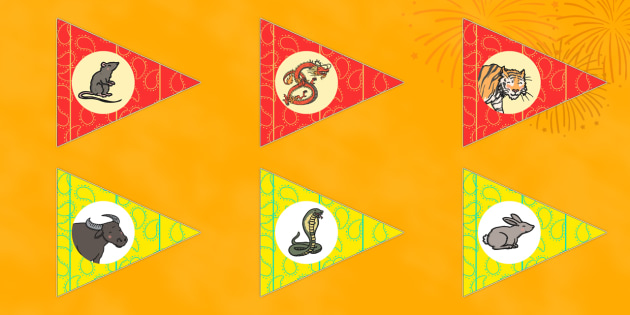 Chinese New Year Race Animal Flags - animal, flags, chinese, year
