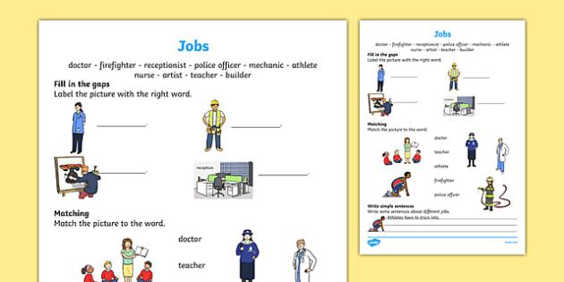 Jobs Activity Sheet, worksheet