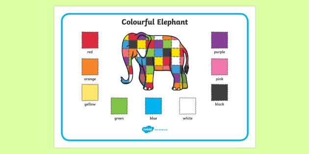 Colourful Elephant Colour Word Mat - Elmer, Elmer the elephant, resources, Elmer story, patchwork elephant, PSHE, PSE, David McKee, colours, patterns, story, story book, story book resources, story sequencing, story resources, word mat, wri