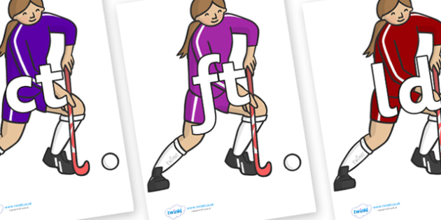 Final Letter Blends on Hockey Players - Final Letters, final letter, letter blend, letter blends, consonant, consonants, digraph, trigraph, literacy, alphabet, letters, foundation stage literacy