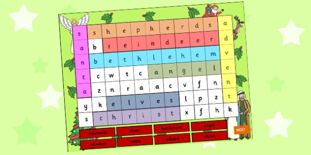 Christmas Themed Word Search PowerPoint - christmas